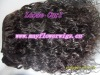 Machine made human hair extensions loose curly/wave hair wefts/hair weaving double sewn