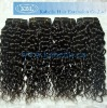 Machine made virgin Indian human hair wavy curly wave