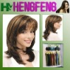 Medium hair wigs mixed brown synthetic wigs hair