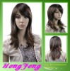 Medium lace wigs synthetic fashion brown ladies wigs