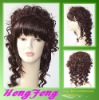 Medium synthetic red brown curly daily fashion wigs