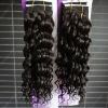 New arrival french curly human hair weaving in stock natural color