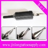 Plastic disposable tattoo grip and tattoo tube steel tip