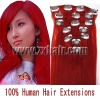 Remy Clip 7pcs Human Hair Extension #red, 70g/set