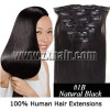 Remy Clip-in Human Hair Extension 7pcs, #1B