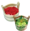 Rose decoration bath paper soap in wooden bucket