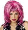 Sexy Pink and Black Hard Rockin' Witch Shag Costume Wig