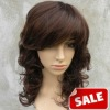 Side Bang Medium Curly Bright Brown 12 inch Lace Front Wigs
