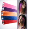 Synthetic colorful clips in hair