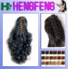 Synthetic ponytail clip black curly extension pieces