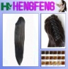 Synthetic ponytail clip black stright extension hairpieces