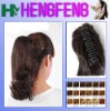 Synthetic ponytail clip dark brown extension hairpieces