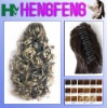 Synthetic ponytail clip dark color curly extension pieces