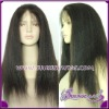 Top quality Indian remy hair yaki kinky straight lace front wig accept paypal