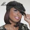 Wholesale black medium length silky straight wave human hair wigs for ladies