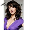 Wholesale dark brown long curly human hair wigs for black ladies