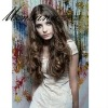 Wholesale dark brown long deep wave human hair wigs for ladies