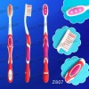 (Z807)rubber and plastic handle soft nylon bristles toothbrush