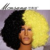 black and yellow sports fans wig