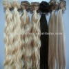blond high quality 100% chinses remy human clip in hair extensions