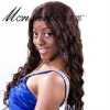 deep wave and dark brown syhthetic wig for African market