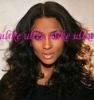 fashion black curly indian remy human hair full lace wig
