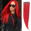 fashion clip in red silky straight indian virgin remy human hair extension