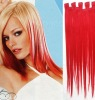fashion clip in red silky straight remy human hair extension