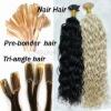 keratin nail-tip /u-tip human hair extension/wig/remi tapped weft