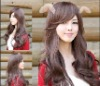 long curls/Oblique Liu/big waves/brown/Princess head type/synthetic wig/fashionable hair