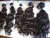 machine weft natural wavy remy hair extensions in stock