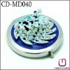 new metal foldable round compact makeup mirror with peacock CD-MD040