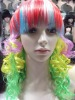 rainbow synthetic wig, party wig for sale
