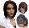 straight machine weft human hair wig