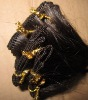 super quality black hand tied mongolian remy hair weft