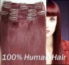 tangle free brown silky straight clip in hair /top quality brazilian human hair clip