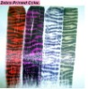 zebra-stripe grizzly rooster feather hair extension 16inch